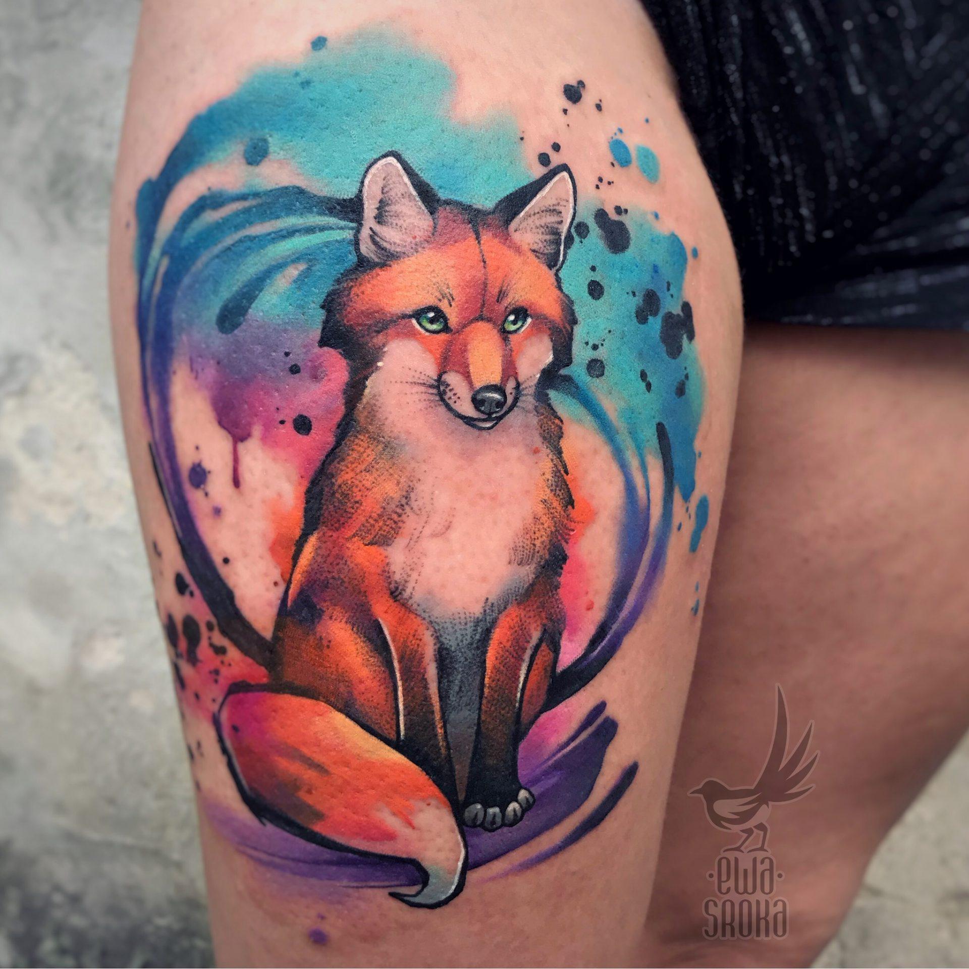 Akwarelowy Tatuaż Lisa Który Wykonała Ewa Sroka Avalan Tattoo