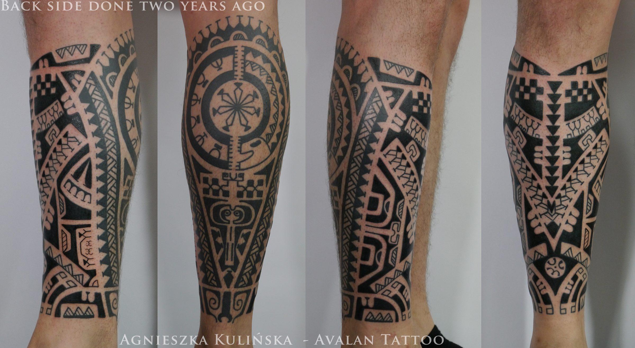 Tatuaż W Stylu Markizyjskim łydka Kolano Avalan Tattoo